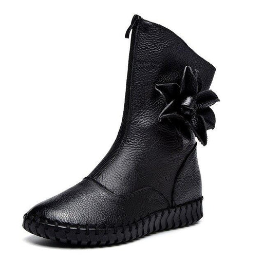 Luxury Fashion Handmade Flowers Designer Women's Flat Snow Boots - SolaceConnect.com