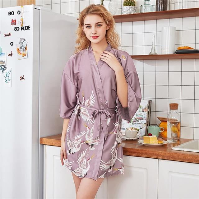 Sexy Women's Summer Crane Design Short Bridesmaid Robe Nightgown Plus Size - SolaceConnect.com