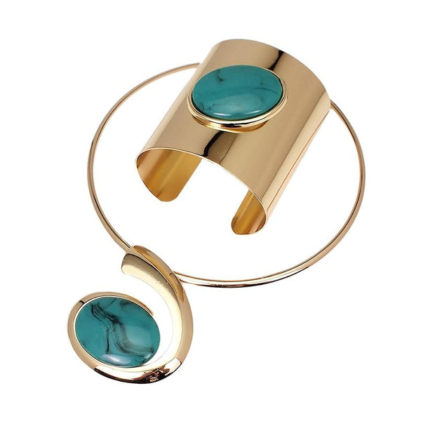 Big Oval Resin Set Jewelry Metal Torques Cuff Bracelet Bangles Necklace Women Alloy Statement - SolaceConnect.com