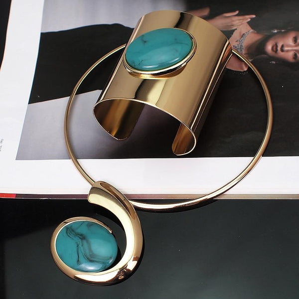 Big Oval Alloy Metal Torques Cuff Bracelet Bangles Necklace for Women - SolaceConnect.com