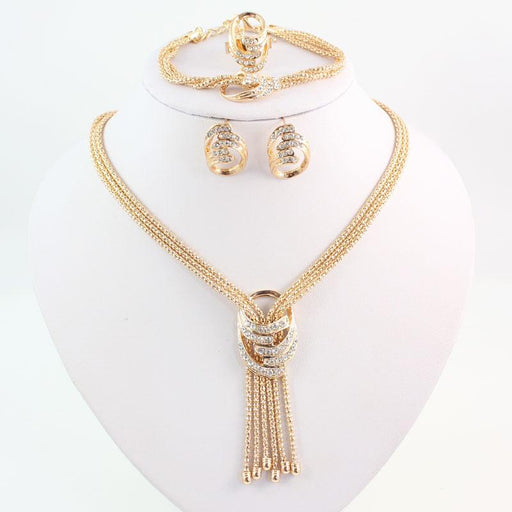 Latest Fashion African Beads Jewelry Sets Wedding Costume Women Party Gold Color Crystal Necklace - SolaceConnect.com
