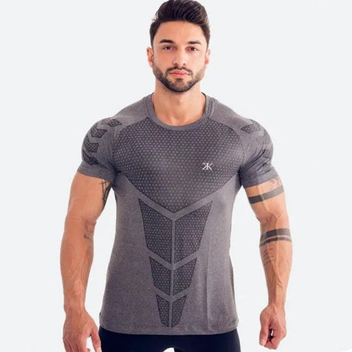 Men's Summer Quick-dry Compression Fitness Gym Skinny Short Sleeve T-shirt - SolaceConnect.com