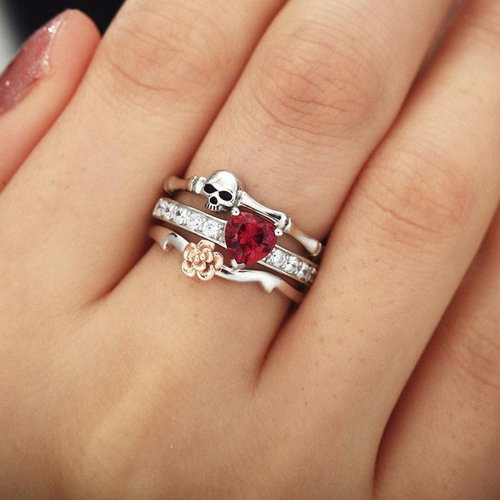 Skull Red Heart Crystal CZ Rose Flower Female Wedding Finger Rings - SolaceConnect.com