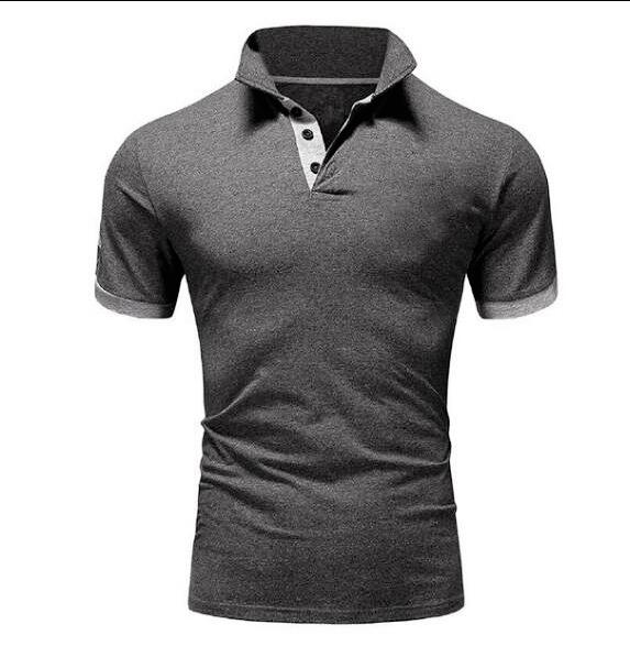 Summer Men's Casual Solid Short Sleeve Lapel Pullover Tops T-shirt - SolaceConnect.com