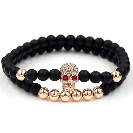 2Pc Set Stone Beads Micro Pave CZ Crown Charms Couple Bracelets for Women - SolaceConnect.com