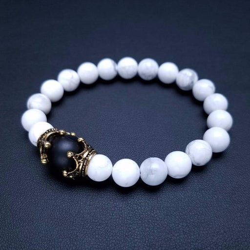 Luxury Men's Antique Crown Charm Tiger Eye Stone Bead Bracelets Jewelry - SolaceConnect.com