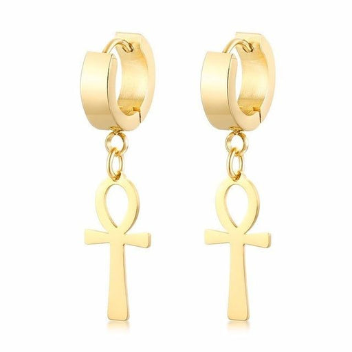 Egypt Cleopatra Ankh Earrings for Men Women Stainless Steel Eternal Cross Dangle Earrings - SolaceConnect.com