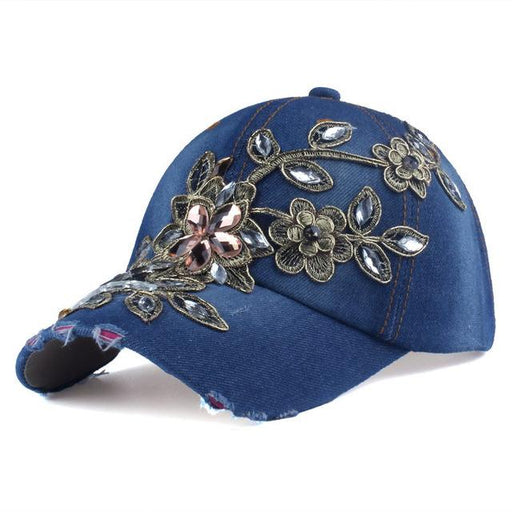 Denim Canvas Snapback Baseball Cap Hat with Rhinestone Flower for Women - SolaceConnect.com