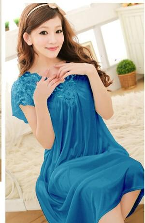 Women lace sexy nightdress girls plus size bathrobe Large size Sleepwear nightgown Y02-3 - SolaceConnect.com