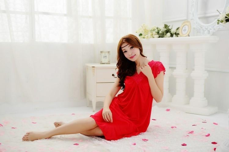 Sexy Women's Plus Size Solid Lace Bathrobe Nightdress Sleepwear Nightgown - SolaceConnect.com