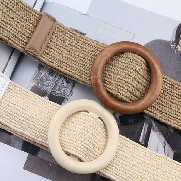 Vintage Fake Straw Boho Braided Round Wooden Smooth Buckle Waist Belt - SolaceConnect.com