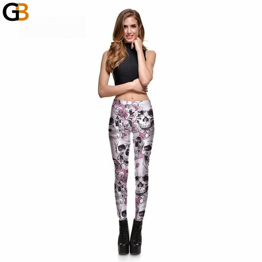 Leggings Women's Skull&Peach blossom Leggings Digital Print Pants Trousers Stretch Pants - SolaceConnect.com