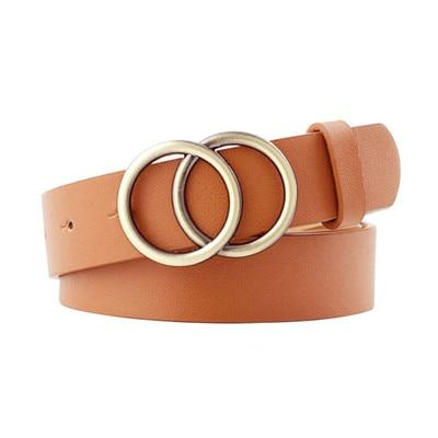 Vintage Fashion Double Round Buckle Leather Waist Belt for Women - SolaceConnect.com