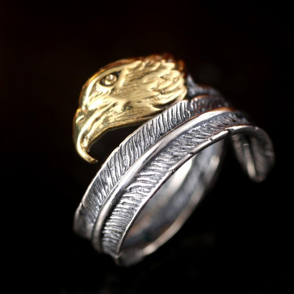Vintage Opening Gold Color Eagle Head Sterling Silver Feather Unisex Ring - SolaceConnect.com