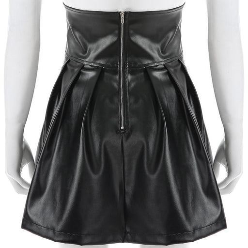 Korean Fashion Women's Faux Leather Bandage Design Mini Pleated Skirts - SolaceConnect.com