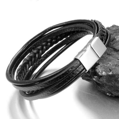 Fashion Charm Jewelry Punk Cool Men Genuine Leather Bracelets For Male - SolaceConnect.com