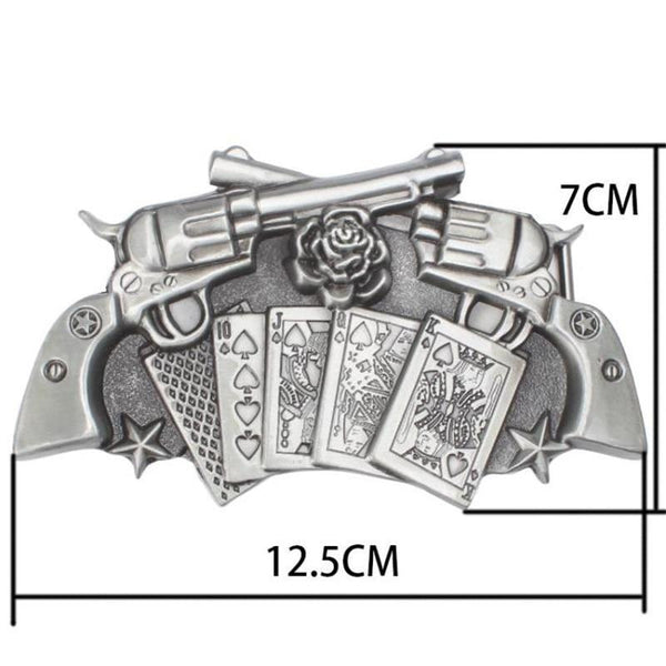 Metal punk belt rock style Lucky Poker gamble metal buckle belts lucky Playing card belt punk Hip - SolaceConnect.com