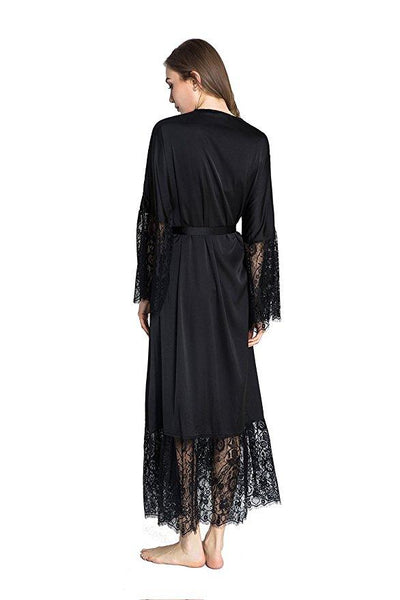 Women's Silk Lace Sexy Sleepwear Robe Long Nightgown Lingerie for Summer - SolaceConnect.com