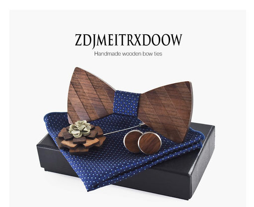 Pocket square Brooch Gravata Tie Hanky Cufflink Sets Striped Wooden bow tie Ties for Mens - SolaceConnect.com