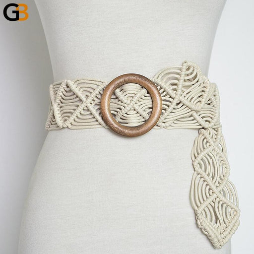 Vintage Wide Bohemian Belts For Women Round Wood Buckle Woven Braided Rope Belt Female Casual - SolaceConnect.com