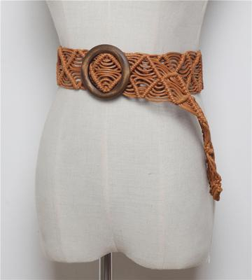 Vintage Women's Braided Wide Bohemian Round Wood Buckle Woven Rope Belts - SolaceConnect.com