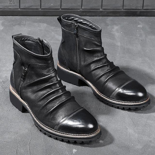 Autumn Men Leather Boots Fashion Retro Zipper Ankle Booties Breathable Big Size Male Motorcycle - SolaceConnect.com