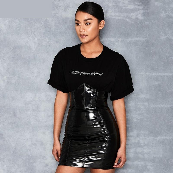 Women's Autumn Black Synthetic Leather High Waisted Zipper Pencil Skirts - SolaceConnect.com
