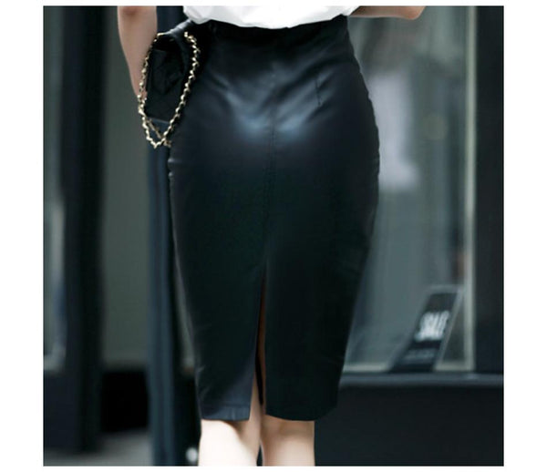 Women's Black Leather Plus Size Midi Pencil Skirt with High Waist - SolaceConnect.com