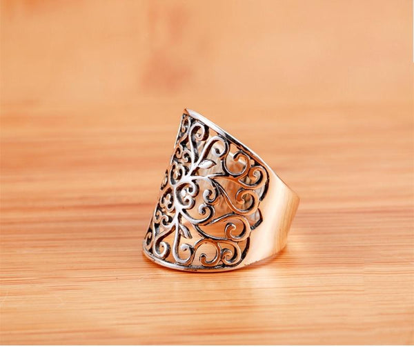 Fashion Women's Hollow Flower Designed Real 925 Solid Sterling Silver Ring - SolaceConnect.com