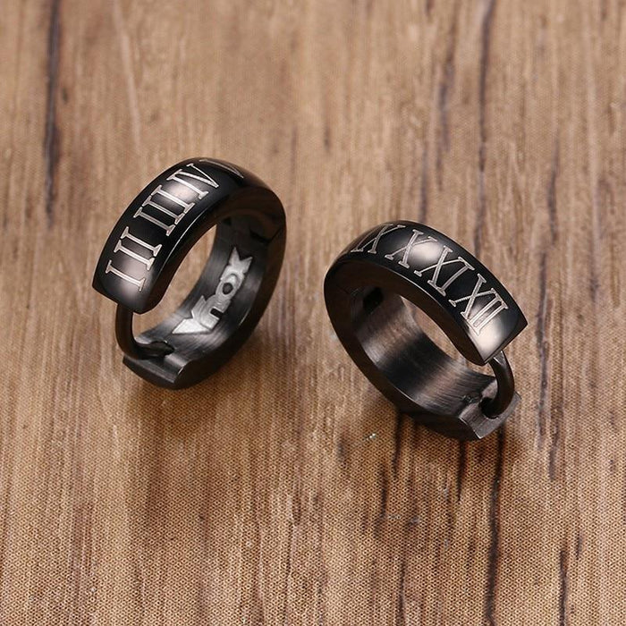 Men's Punk Roman Numerals Stainless Steel Black Hoop Earrings Jewelry - SolaceConnect.com