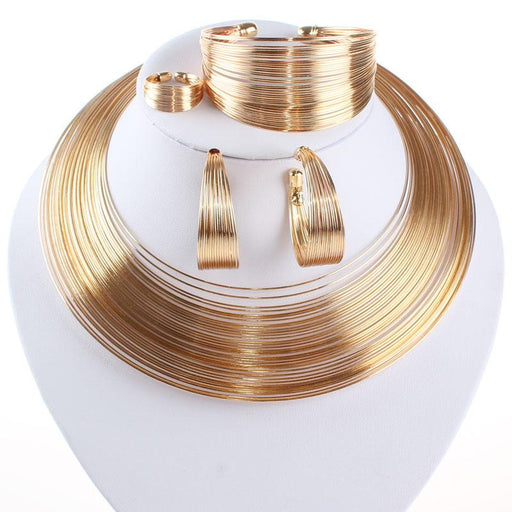 Indian Jewelry Set Fashion Metal Wire Torques Choker Necklaces Bangle Earrings Ring Sets For Women - SolaceConnect.com