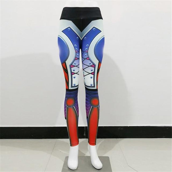 Women's High Waist Bodybuilding Fitness Steel Robot Ankle Leggings - SolaceConnect.com