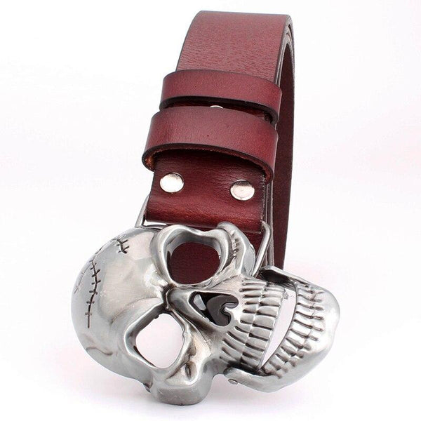 Fashion men's women's belt Skull buckle big skull head belt punk rock style men women cowskin - SolaceConnect.com