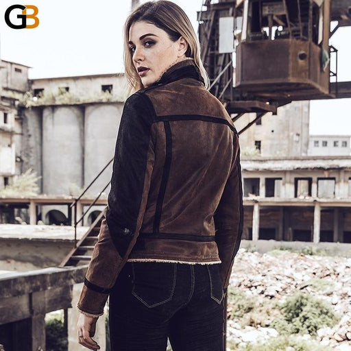 Women Bomber Flight Real Leather Jacket with Faux Fur Shearling Genuine Leather Motorcycle Jacket - SolaceConnect.com