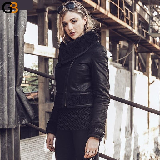 Women's Winter Genuine Leather Jacket Pigskin faux fur shearling coat Motorcycle Female Real leather - SolaceConnect.com