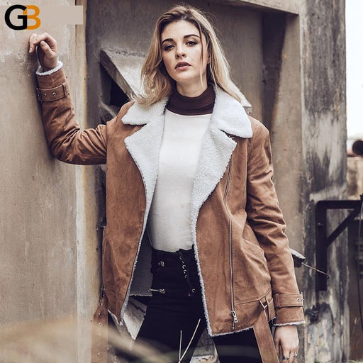 Women Pigskin Coat Faux Fur Shearling Real Leather Jacket Female Motorcycle Genuine Leather Jacket - SolaceConnect.com