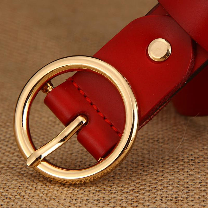 Luxury Fashion Women's Leather Strap Buckle Designer Belts for Students - SolaceConnect.com