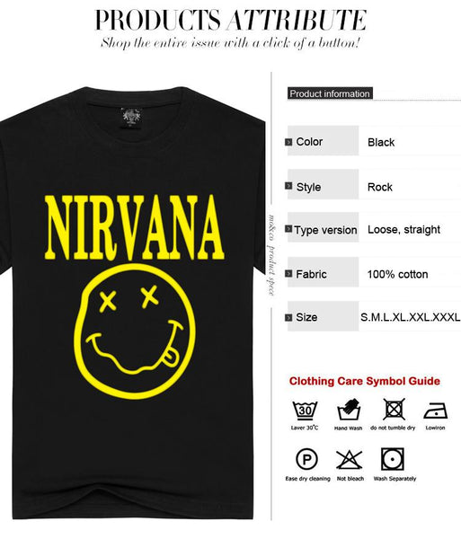 Nirvana Print Unisex Summer Cotton Loose O-neck Short Sleeves T-shirt Tees - SolaceConnect.com