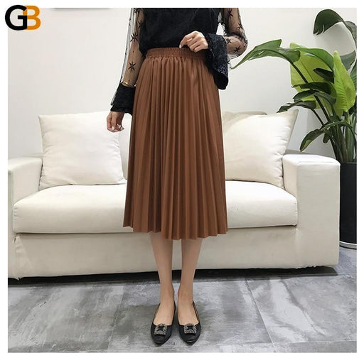 Women's Autumn All-match Synthetic Leather Elastic High Waist Pleated Skirt - SolaceConnect.com