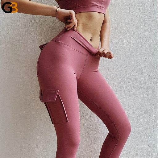Sexy Leggings With Pockets Solid Push up Fitness Workout Gym Leggings High Waist Skinny Slim - SolaceConnect.com