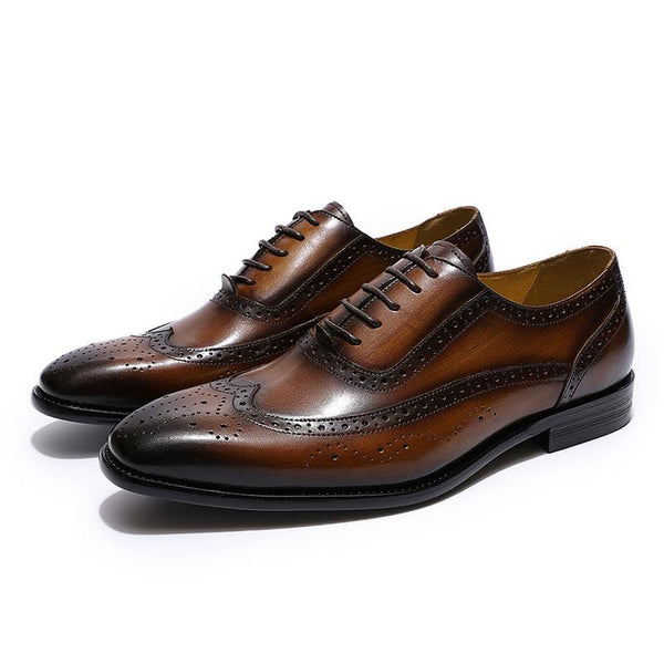 Classic Wingtip Medallion Brogue Oxfords Men's Dress Shoes Genuine Leather Black Brown Mens - SolaceConnect.com