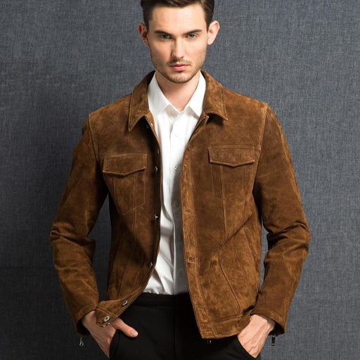 Men's real leather jacket pigskin Genuine Leather jacket men pig leather denim jacket coat - SolaceConnect.com