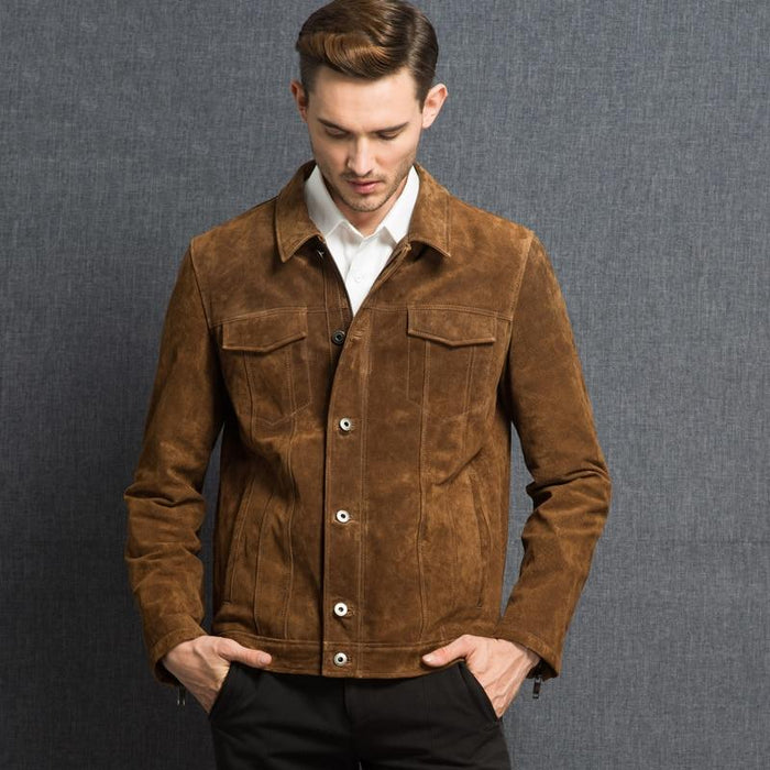 Casual Style Genuine Pig Leather Denim Jacket Coat for Men - SolaceConnect.com