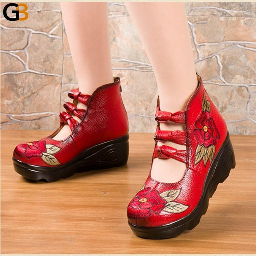 Luxury Ladies Summer Vintage Embroidery Flower Leather Sandals Wedge Shoes - SolaceConnect.com