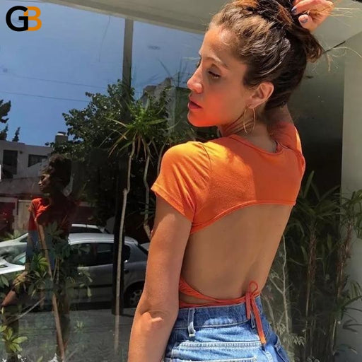 Women's Short Sleeve White Backless Casual Bandage Crop Top T-Shirt - SolaceConnect.com