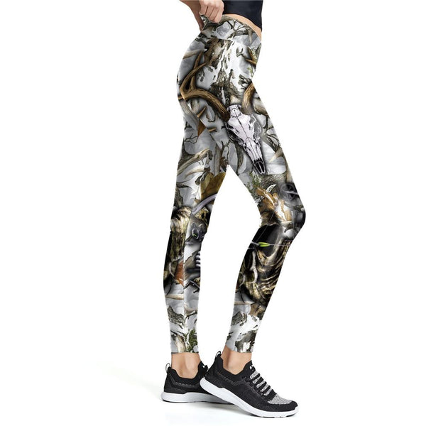 Vintage Hunting Style High Waist Slim Fit Women's Leggings for Workout - SolaceConnect.com