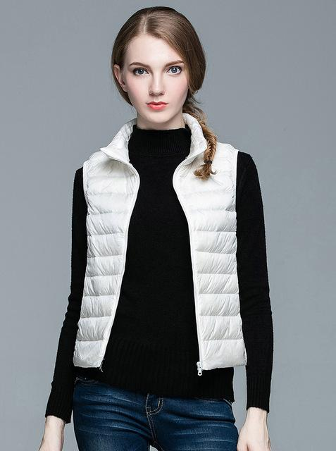 Women's Ultra Light Solid Winter Autumn White Duck Down Vests Jackets - SolaceConnect.com