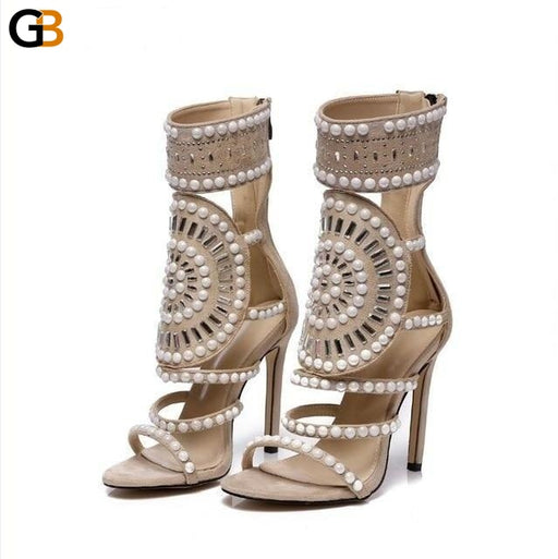 Women Fashion Open Toe Rhinestone Design High Heel Sandals Crystal Ankle Wrap Glitter Diamond - SolaceConnect.com