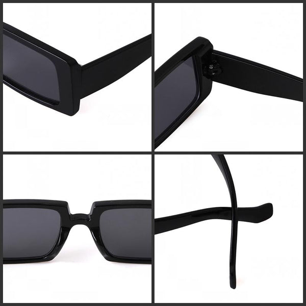 Female Trendy Black Rectangle Thick Frame Fashion Sunglasses - SolaceConnect.com