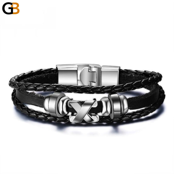 Men's Stainless Steel Leather Geometric Toggle Clasp Charms Bracelet - SolaceConnect.com
